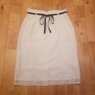 アストリアオディール(ASTORIA ODIER)のアストリアオディール レースタイトスカート ホワイト(ひざ丈スカート)