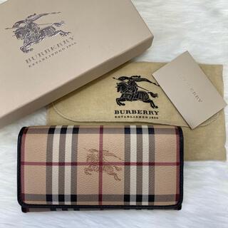 【美品】Burberry バーバリー 長財布 ノバチェック シャドーホース