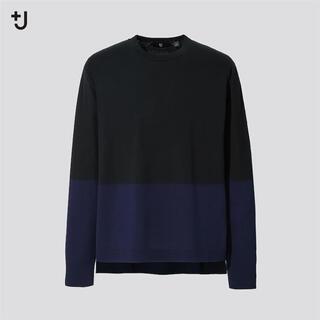 ユニクロ(UNIQLO)のシルクコットンクルーネックセーター(長袖・カラーブロック)(ニット/セーター)