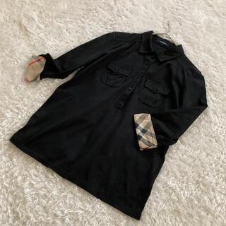 バーバリー(BURBERRY)のバーバリーロンドン ノバチェック×黒 七部丈 シャツ ブラウス レディースM(シャツ/ブラウス(長袖/七分))