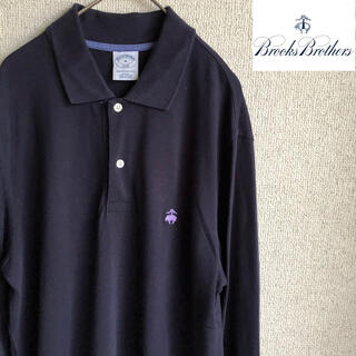 ブルックスブラザース(Brooks Brothers)のBROOKS BROTHES ワンポイント 刺繍 長袖 ポロシャツ Mサイズ 紺(ポロシャツ)