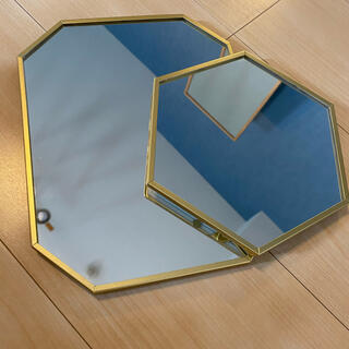 イケア(IKEA)のIKEA ラスビーン 鏡 2枚セット(壁掛けミラー)
