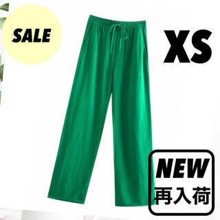 セール♪ グリーン フルイドパンツ ストレッチ ハイライズ 緑 韓国 大人気‼️(カジュアルパンツ)