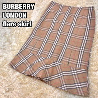 バーバリー(BURBERRY)の美品✨BURBERRY LONDON 膝丈スカート ノバチェック コットン M(ひざ丈スカート)