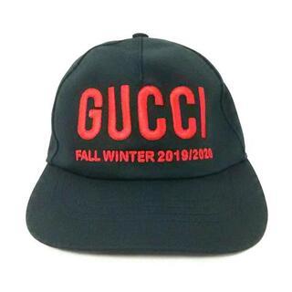 グッチ(Gucci)のグッチ キャップ M 596211 黒×レッド 刺繍(キャップ)