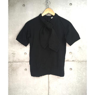 ビームスボーイ(BEAMS BOY)のBEAMS BOY 半袖シャツ 黒 日本製 ボウタイ リボン ビームス M(シャツ/ブラウス(半袖/袖なし))