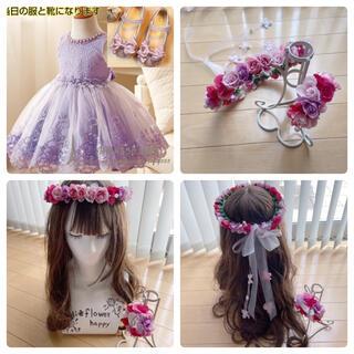 3歳 花かんむり♡リストレットゴムタイプ(ヘッドドレス/ドレス)