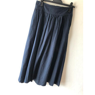ドアーズ(DOORS / URBAN RESEARCH)のFORK&SPOON コットンリネンギャザースカート ネイビー / 2(ひざ丈スカート)