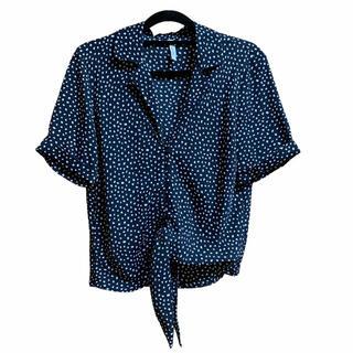 マンゴ(MANGO)のMANGO マンゴ 牛柄シャツ ドット 紺 ネイビー 絞り 夏 海 外国 海外風(シャツ/ブラウス(半袖/袖なし))