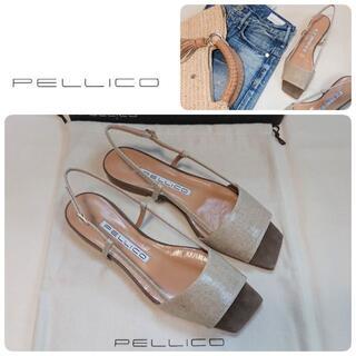PELLICO - 定価57200円 新品 ペリーコ 新木型 リネン×スエード ストラップサンダル