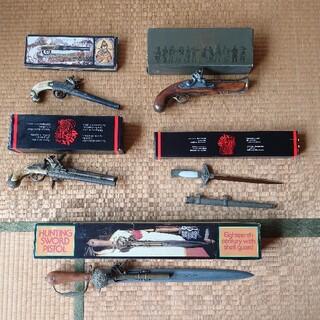 フリントロックピストル アンティーク銃 ガンサーベルなど5品セット(小道具)