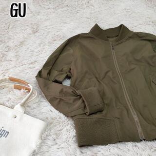 ジーユー(GU)のGU ジーユー 薄手 MA-1 ジャケット ナイロンジャケット カーキ M(ブルゾン)