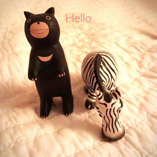 アフタヌーンティー(AfternoonTea)の新品SALE クマさん&シマウマさんセット オブジェ 置物 木製(置物)