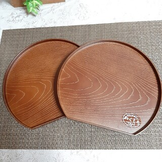 【2枚】新品 日本製 木目調 漆器 半月盆 トレイ ブラウン 食洗機OK(テーブル用品)