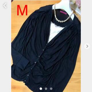 ニューヨーカー(NEWYORKER)の薄手カットソーデザインタックカーディガン 冷房対策 羽織り紺色(カーディガン)