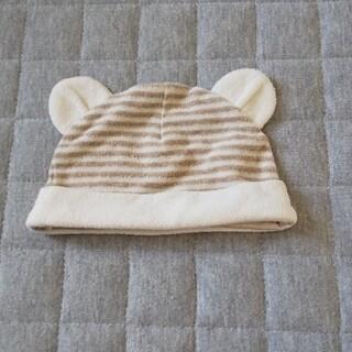 ニシマツヤ(西松屋)のオーガニック綿パイル ボーダー柄 耳付き帽子(帽子)