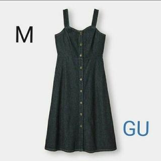 ジーユー(GU)のgu ワンピース デニム ネイビー(ロングワンピース/マキシワンピース)
