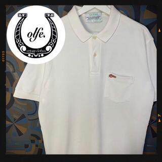 ゲス(GUESS)のゲス 90s GUESS 半袖ポロシャツ 白 刺繍 ワンポイントロゴ 旧タグ(ポロシャツ)