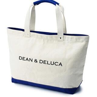ディーンアンドデルーカ(DEAN & DELUCA)のDEAN & DELUCA キャンバストートバッグブルー&ナチュラル Lサイズ(トートバッグ)