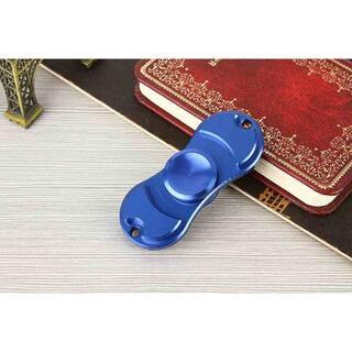 アルミ 指スピナー ハンドスピナー 回転スピナー ブルー //a32(知育玩具)