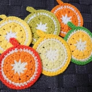 アクリルたわし いよかん ゆず シークヮーサー レモン ライム オレンジ(キッチン小物)