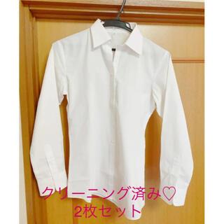 アオキ(AOKI)のアオキ LES MUES 白ブラウス 2枚セット(シャツ/ブラウス(長袖/七分))