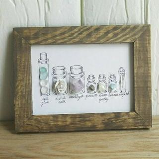 小瓶の世界*鉱物標本☆シーグラスアート(アート/写真)