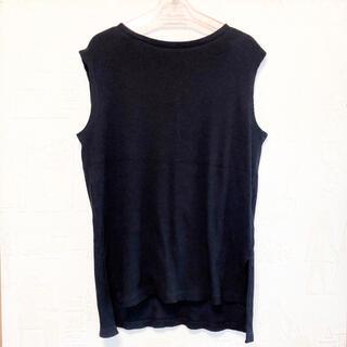 ノースリーブ タンクトップ ブラック 黒 ボタン 大人 綺麗 レディース(Tシャツ(半袖/袖なし))