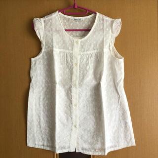 コンビミニ(Combi mini)のリボンキャスケット ノースリーブ ブラウス 苺 レース(シャツ/ブラウス(半袖/袖なし))