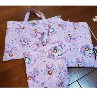 ディズニー(Disney)のハンドメイド 幼稚園 保育園 通園バッグ 上履き入れ ナップザック 三点セット(バッグ/レッスンバッグ)