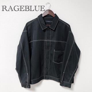 レイジブルー(RAGEBLUE)の【美品】RAGEBLUE ステッチショートブルゾン  ブラック L(ブルゾン)