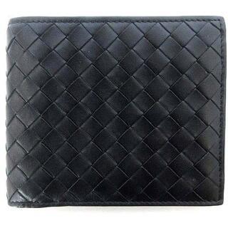 ボッテガヴェネタ(Bottega Veneta)のボッテガヴェネタ 193642 イントレチャート 二つ折り 財布 レザー 黒(折り財布)