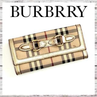 バーバリー(BURBERRY)の【美品】  バーバリー 長財布 二つ折り ベージュ ゴールド ノバチェック(財布)