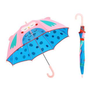 【海外製品】傘 キッズ 子供 アニマル 耳 透明窓 付き 手動 8本骨 ピンク(傘)
