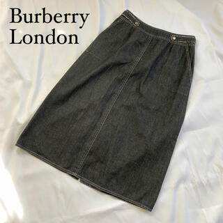 バーバリー(BURBERRY)の☆美品 バーバリーロンドン 膝丈スカート 大きいサイズ XL グレー(ひざ丈スカート)