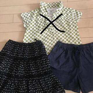 ユニクロ(UNIQLO)の女の子 130  ユニクロ コムサイズ スカート ショートパンツ 2点セット(スカート)