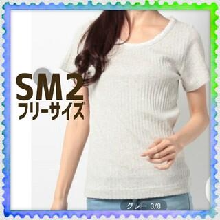 サマンサモスモス(SM2)のサマンサモスモス SM2 薄いグレー パターンメッシュ 半袖 トップス(その他)
