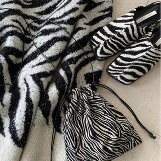 シールームリン(SeaRoomlynn)のゼブラミニ巾着ショルダー アニマル柄 ポシェット レディース 鞄 バッグ(ショルダーバッグ)