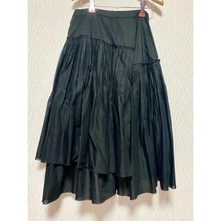 エーティー(A/T)の値下げATエーティのフレアスカート ブラック 美品 プリーツ レイヤード(ロングスカート)