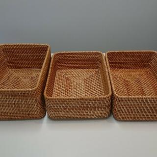 ムジルシリョウヒン(MUJI (無印良品))の無印良品 重なるラタン長方形バスケット 3個セット(バスケット/かご)