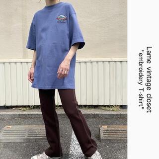 サンタモニカ(Santa Monica)の90s 古着 ボート刺繍ロゴ Tシャツ USA製 ユニセックス ビンテージ(Tシャツ/カットソー(半袖/袖なし))