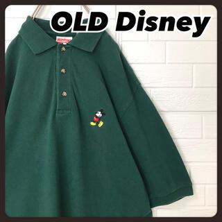 ディズニー(Disney)のオールドディズニー  ポロシャツ 半袖 緑 ミッキー 刺繍 ロゴ 90s(ポロシャツ)