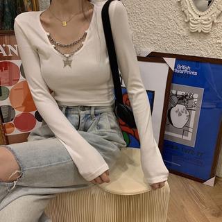 スライ(SLY)のバタフライ チェーン リブニット トップス ニット (Tシャツ(長袖/七分))