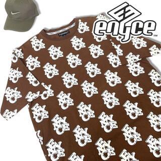 エニーチェ(ENYCE)の00s エニーチェ 半袖 総柄 Tシャツ ブラウン XL ENYCE ストリート(Tシャツ/カットソー(半袖/袖なし))