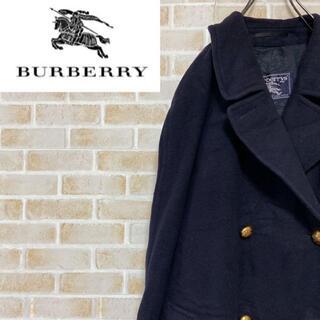 バーバリー(BURBERRY)の●バーバリー● 90s ウールトレンチコート プローサムライン 金ボタン 紺(トレンチコート)