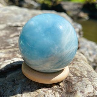アクアマリン 原石 スフィア 非加熱 約4.5cm(置物)