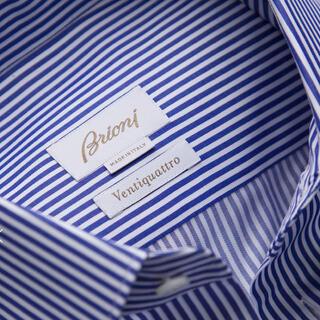 グッチ(Gucci)のブリオーニ ヴェンティクワトロ ブルニコ シャツ ホワイト&ロイヤルブルー (シャツ)