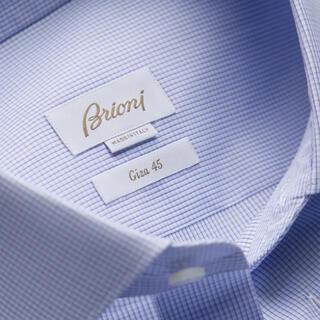 グッチ(Gucci)のブリオーニ コットン ブルニコ シャツ ホワイト&ネイビーブルー(シャツ)
