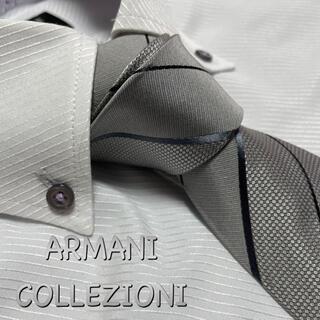 ARMANI COLLEZIONI - アルマーニ コレツォーニ ネクタイ【未使用に近い】ブランドネーム ストライプ柄
