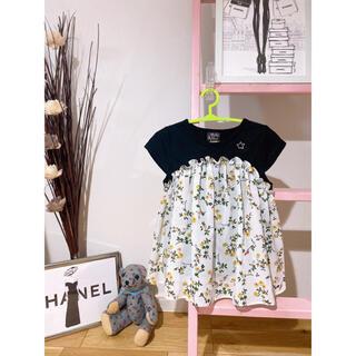 しまむら - DOLLY RIBBON 花柄ビスチェ風チュニック 半袖Tシャツ